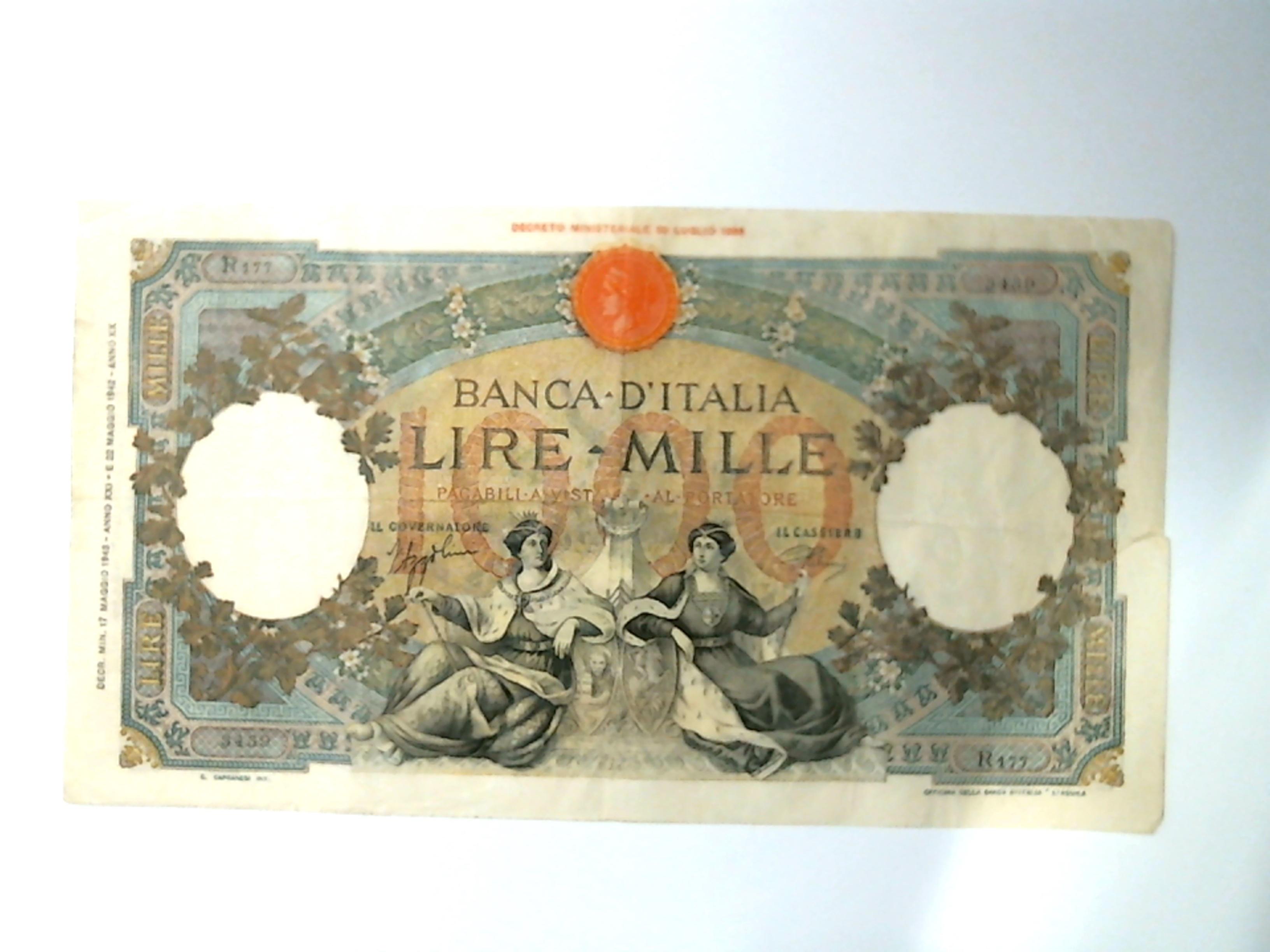 Regno Ditalia Vittorio Emanuele Iii 1000 Lire 17051943